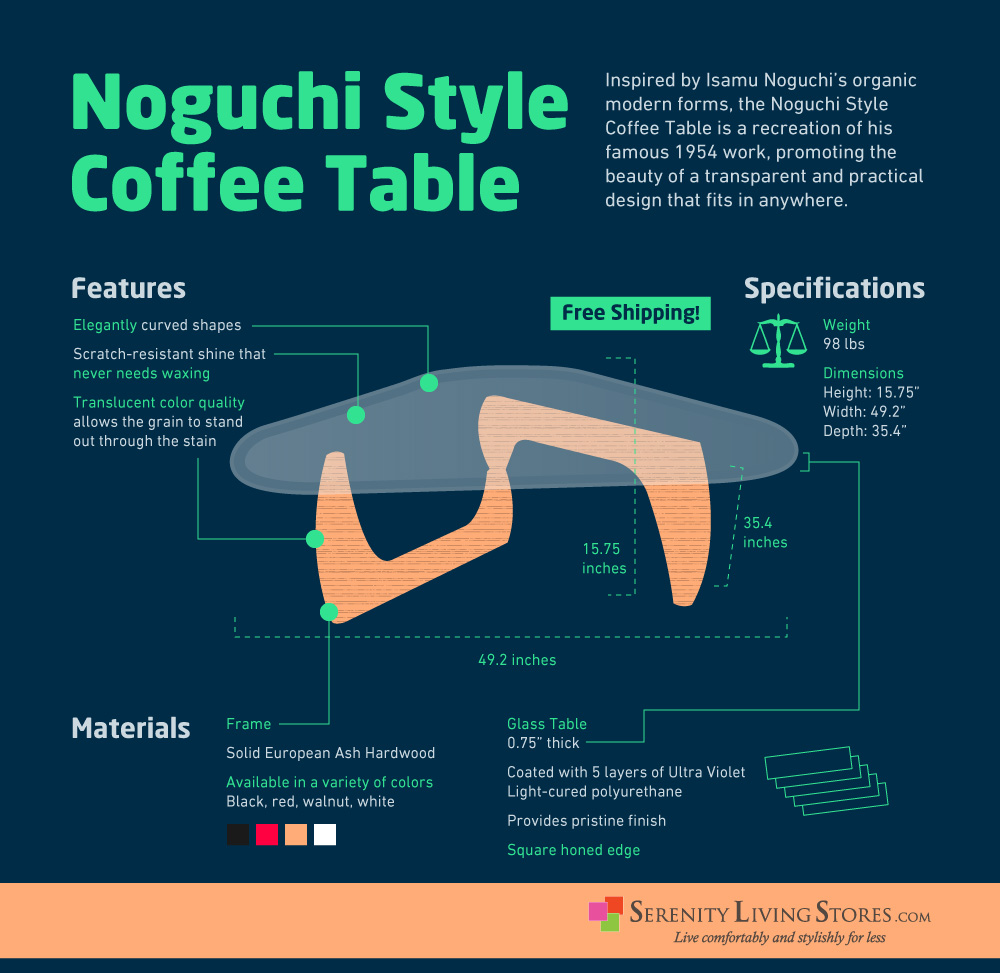Noguchi Style Coffee Table Inspired By Isamu