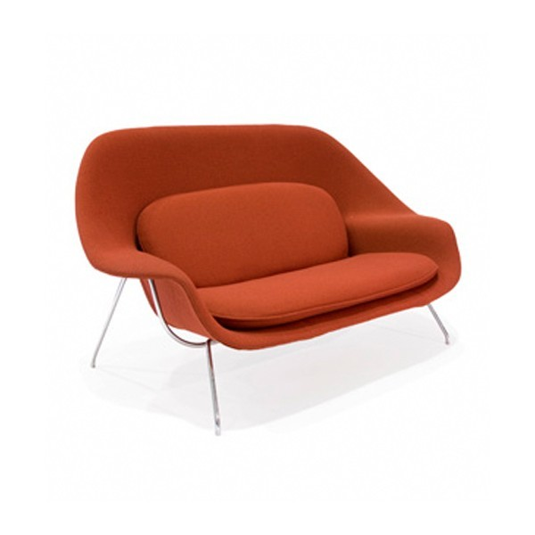 Womb chair original loveseatpng knoll saarinen womb chair with ottoman in hopsack in red womb - Womb chair knock off ...